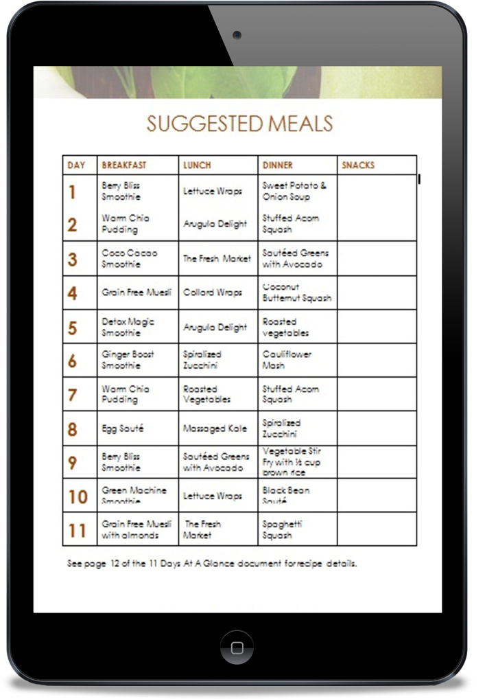 suggested meals